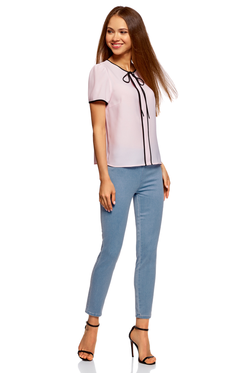 Леггинсы женские oodji Ultra, цвет: голубой джинс. 12104068/47621/7000W. Размер 30-32 (50-32)12104068/47621/7000W