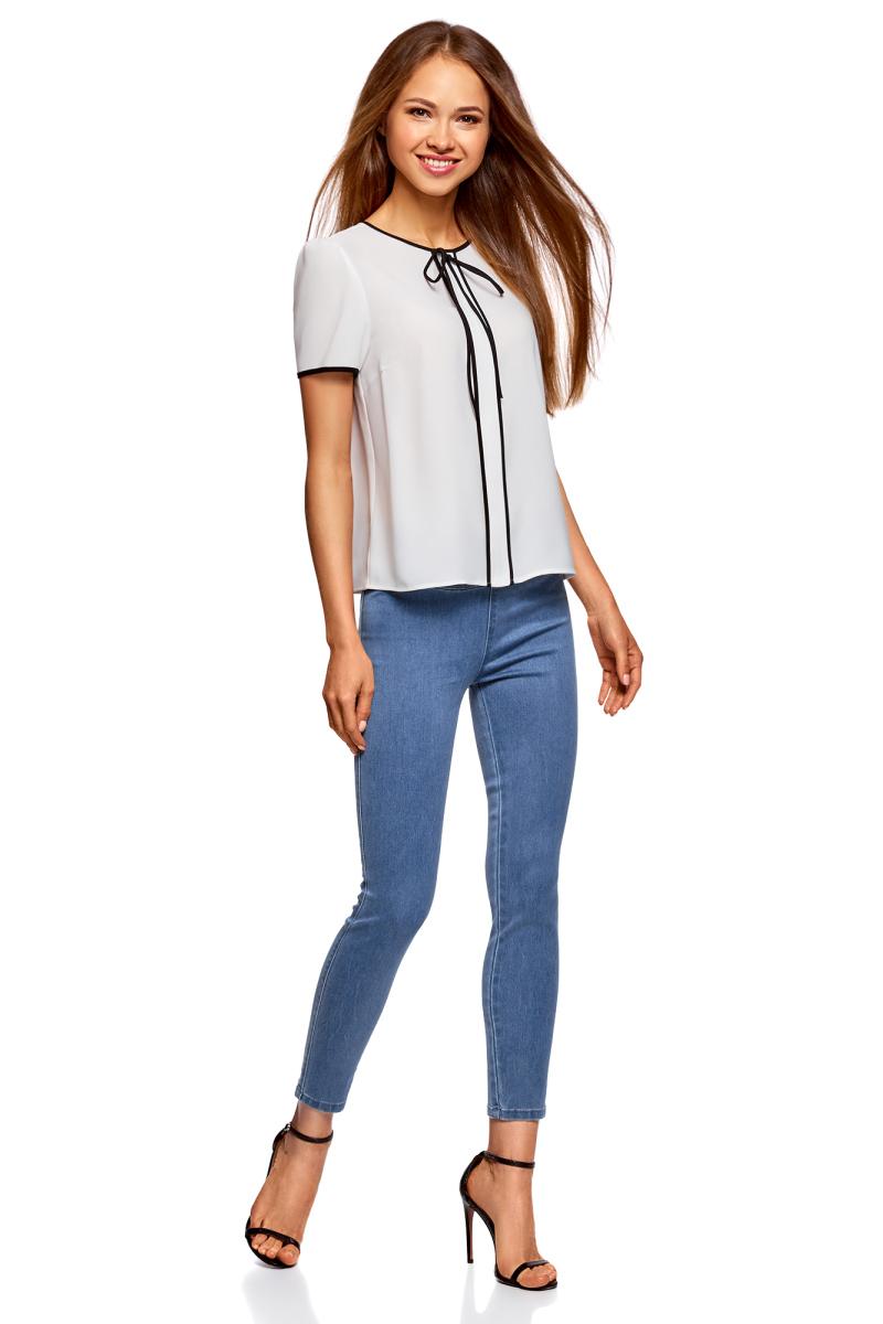 Леггинсы женские oodji Ultra, цвет: синий джинс. 12104068/47621/7500W. Размер 25-30 (40-30)12104068/47621/7500WДжеггинсы от oodji выполнены из стрейчевого денима. Модель на широком эластичном поясе.