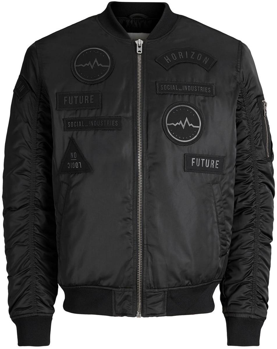 Куртка муж Jack & Jones, цвет: черный. 12124278_Black. Размер M (46/48)12124278_Black