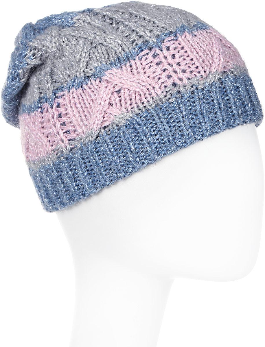Шапка женская Marhatter, цвет: голубой. Размер 56/58. MWH5747/3MWH5747/3Стильная шапка-колпак, декорирована кожаной застежкой, выполнена из высококачественной пряжи. Модель очень актуальна для тех, кто ценит комфорт, стиль и красоту. Отличный вариант на каждый день.
