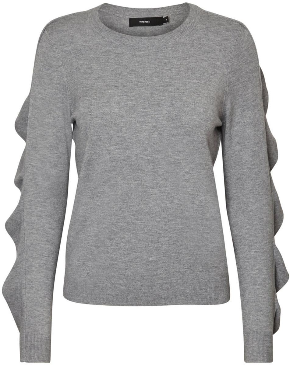 Джемпер женский Vero Moda, цвет: серый. 10185482_Medium Grey Melange. Размер S (42/44) кардиган женский vero moda цвет черный светло серый 10166453 размер s 42