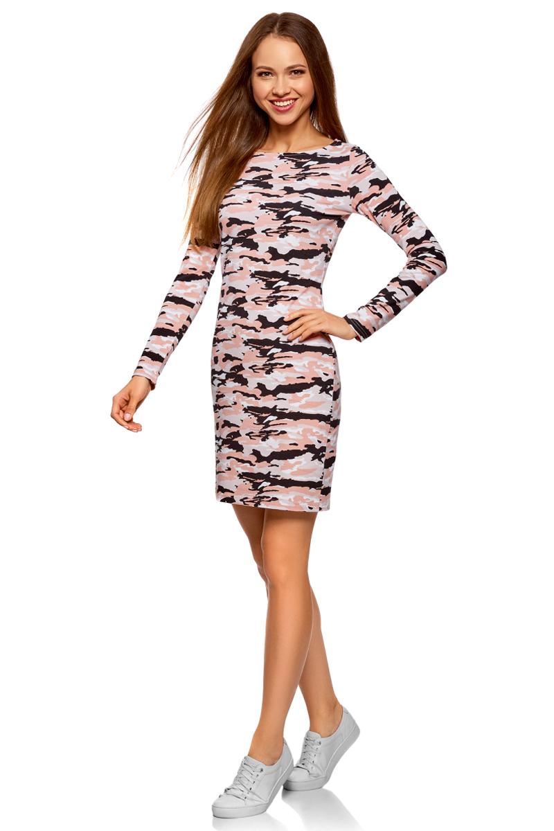 Платье oodji Ultra, цвет: персиковый, черный. 14001183-2/47420/5429O. Размер XS (42)14001183-2/47420/5429OЭлегантное трикотажное платье облегающего силуэта, с вырезом-лодочкой и длинными рукавами. Простота и тщательно продуманный крой являются главным достоинством этой модели. Платье сдержанного дизайна, без украшений и сложных элементов, смотрится стильно. Трикотаж приятен для тела, тянется и комфортен в ношении.