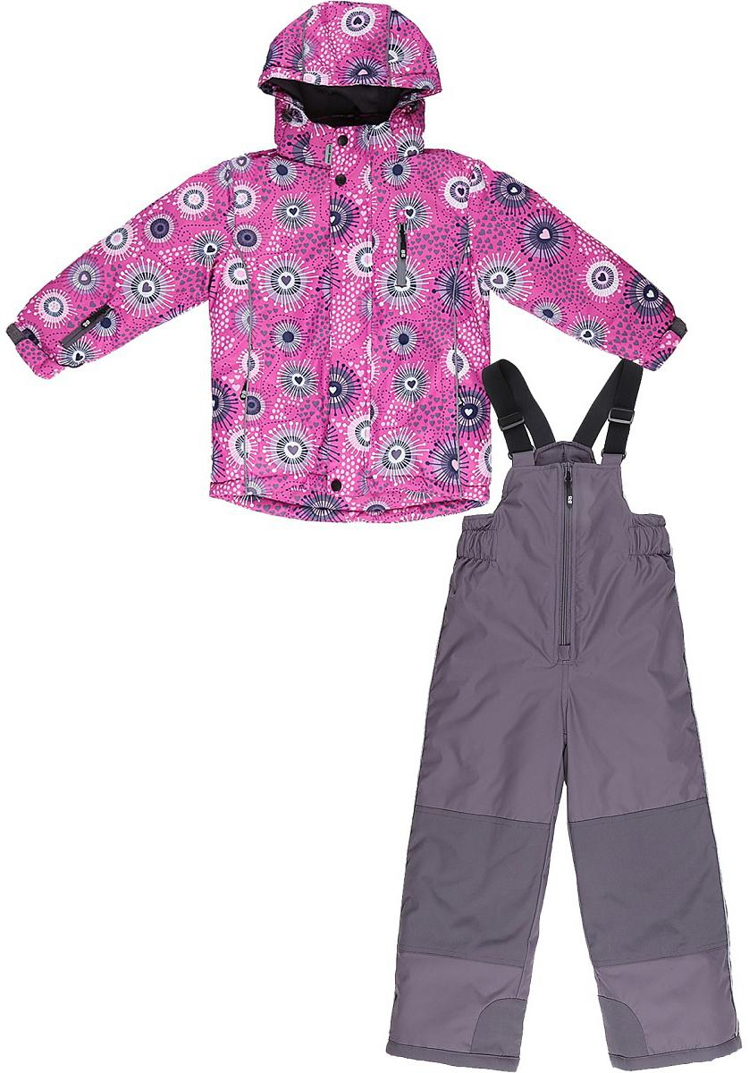 Комплект верхней одежды для девочки Sweet Berry, цвет: розовый. 732301. Размер 110732301Комфортный и теплый костюм для девочки из мембранной ткани. В конструкции учтены физиологические особенности малыша. Съемный капюшон на молниях с дополнительной утяжкой, спереди установлены две кнопки. Рукава с манжетами, регулируются липучкой. На куртке два кармана, застегивающиеся на молнию. Застежка-молния с внешней ветрозащитной планкой. Брюки на регулируемых подтяжках гарантируют посадку по фигуре. Колени, задняя поверхность бедер и низ брюк дополнительно усилены сверхпрочным материалом. Силиконовые отстегивающиеся штрипки на брючинах. Ткань верха: мембрана 10000мм/5000г/м2/24h, waterproof, водонепроницаемая с грязеотталкивающей пропиткой.Пoдкладка: флисУтеплитель: синтетический утеплитель 220 г/м? (куртка),180 г/м? (рукава, п/комбинезон). Температурный режим: от -35 до +5 С