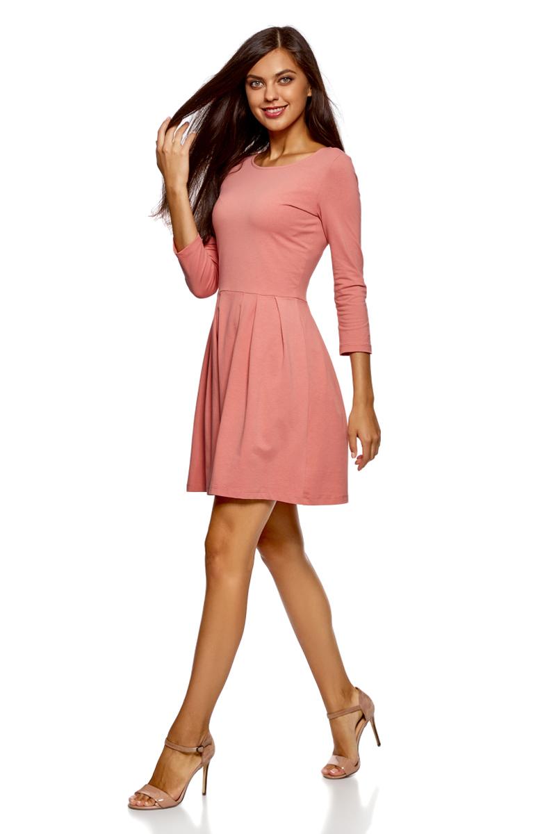 Платье женское oodji Ultra, цвет: карамель. 14011005-3B/46148/4B00N. Размер M (46)14011005-3B/46148/4B00N
