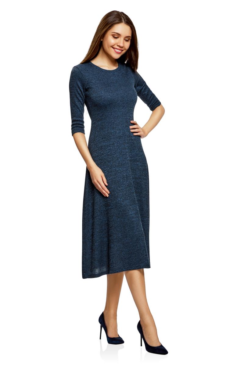 Платье oodji Ultra, цвет: синий, черный меланж. 14011023/46987/7529M. Размер M (46)14011023/46987/7529MПлатье от oodji выполнено из меланжевого материала. Модель длины миди с рукавами 3/4 и расклешенным низом.