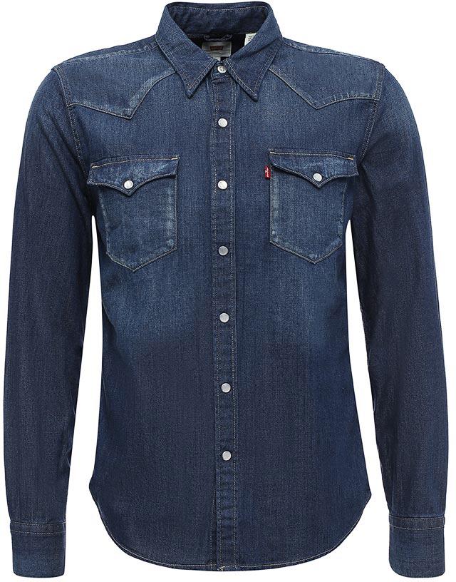 Рубашка мужская Levis®, цвет: темно-синий. 6581602330. Размер M (48)6581602330Рубашка в стиле Western c нагрудными карманы на клапанах и винтажными перламутровыми пуговицами.