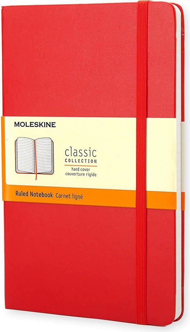 Moleskine Записная книжка Classic Large 120 листов в линейку цвет красный385216Эргономичная записная книжка Moleskine Classic в прочной обложке станет надежным спутником в путешествии и идеально подойдет для записи мыслей и заметок. Этот продукт выполнен в шитом переплете с влагостойкой обложкой со закругленными углами, закладкой, эластичной застежкой и вместительным внутренним карманом, куда вложена карточка с историей Moleskine.