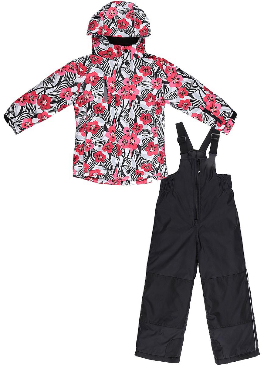 Комплект верхней одежды для девочки Sweet Berry: куртка, полукомбинезон, цвет: белый, красный, черный. 734301. Размер 116734301Комфортный и теплый комплект верхней одежды от Sweet Berry для девочки, состоящий из куртки и полукомбинезона, выполнен из мембранной ткани. В конструкции учтены физиологические особенности малыша.Съемный капюшон на молниях с дополнительной утяжкой, спереди установлены две кнопки. Рукава с манжетами, регулируются липучкой. На куртке два кармана, застегивающиеся на молнию. Застежка-молния с внешней ветрозащитной планкой.Полукомбинезон на регулируемых подтяжках гарантирует посадку по фигуре. Колени, задняя поверхность бедер и низ брючин дополнительно усилены сверхпрочным материалом. Силиконовые отстегивающиеся штрипки на брючинах.