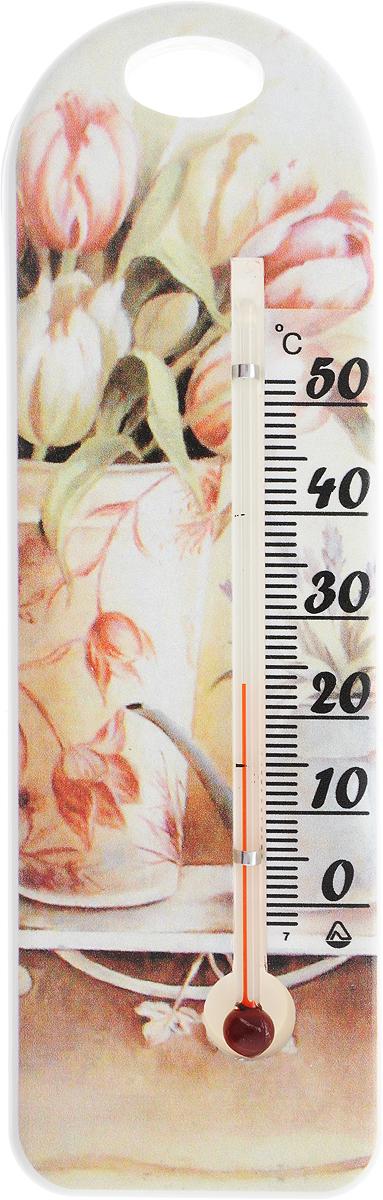 Термометр комнатный Стеклоприбор Тюльпаны в вазе. 300194_тюльпаны300194_тюльпаныЖидкостный термометр Стеклоприбор Тюльпаны в вазе выполнен в декоративном корпусе из качественного пластика. С помощью отверстия вверхней части такой термометр можно повесить на стену. Термометр имеет шкалы измерения температуры по Цельсию (от -2°С до +52°С). Благодаря такому термометру вы всегда будете точно знать, насколько тепло в помещении.Жидкостный термометр отлично впишется в интерьер вашей кухни, а также станет отличным сувенирным подарком для ваших родных и близких.Размеры термометра: 15,5 х 5 см.