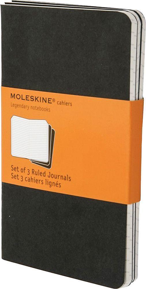 Moleskine Набор записных книжек Cahier Large 40 листов в линейку цвет черный 3 шт385291Набор их 3-х тонких записных книжек в линейку. Записные книжки Cashier от Moleskine отличаются гибкой и прочной картонной обложкой черного цвета и хорошо заметной прошивкой на корешке. Последние 16 листов с перфорацией для легкого отрыва. Есть карман для заметок. В каждый набор из 3 штук вложена карточка с историей Moleskine.
