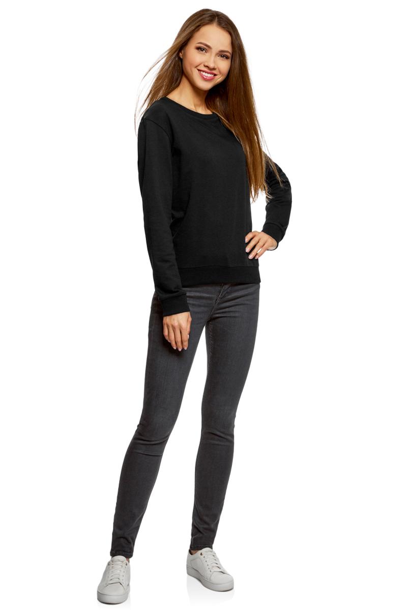Свитшот женский oodji Ultra, цвет: черный, 2 шт. 14808015-1T2/47914/2900N. Размер XXS (40) свитшот женский oodji ultra цвет темно синий 3 шт 14808015 1t3 47914 7900n размер xl 50