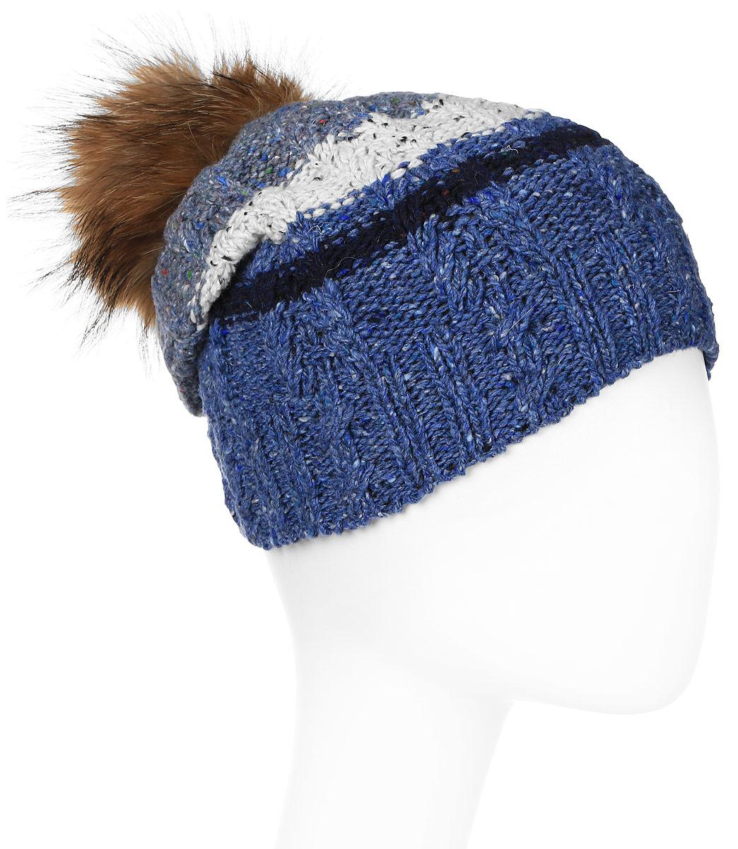 Шапка женская Marhatter, цвет: синий. Размер 56/58. MWH6717/2MWH6717/2Стильная шапка с помпоном из натурального меха, выполнена из ангоровой пряжи. Модель очень актуальна для тех, кто ценит комфорт, стиль и красоту.