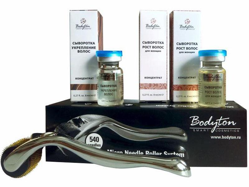 Bodyton Мезотерапия набор №3 для роста волос10041В набор входит: 1. Мезороллер длина игл 2,0мм - косметологический инструмент, способствующий регенерации клеток кожи. 2. Сыворотка Рост волос для женщин (2шт) - оказывает мощный эффект укрепления, восстановления и усиления роста волос при временной алопеции, возникшей в результате физических и эмоциональных нагрузок; обеспечивает интенсивное питание волосяных фолликулов, улучшает микроциркуляцию кожи головы, связывает свободные радикалы, защищает от агрессивных факторов окружающей среды; улучшает структурно-механические свойства эпидермиса, способствуя росту здоровых и сильных волос. 3. Сыворотка Укрепление волос - препятствует выпадению волос, нормализуя выработку кожного сала путем воздействия на 5?-редуктазу; оказывает антиоксидантное и тонизирующее действие на кожу головы; укрепляет волосяные фолликулы, усиливает дисульфидные соединения в процессе кератинизации волос, способствует росту волос.