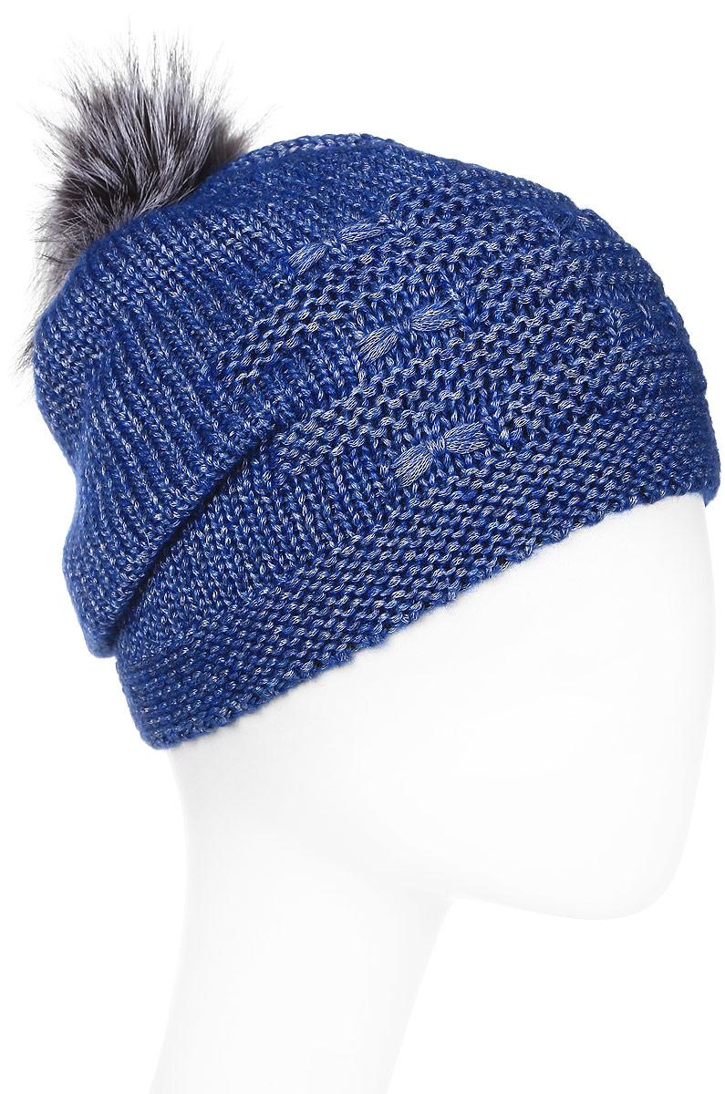 Шапка женская Marhatter, цвет: синий. Размер 56/58. MWH7075/2MWH7075/2Стильная шапка с помпоном добавит уникальность Вашему образу. Данная модель мягкая и комфортная на ощупь. Модель на полном флисе.