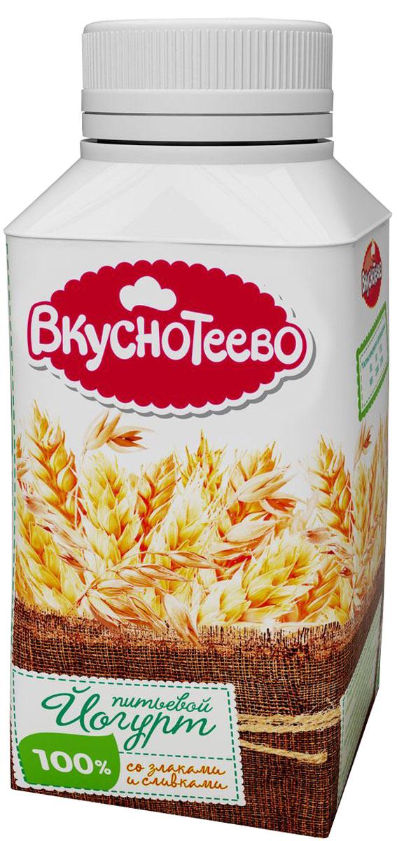 Вкуснотеево Йогурт со злаками и сливками, питьевой 1,5%, 330 г13908