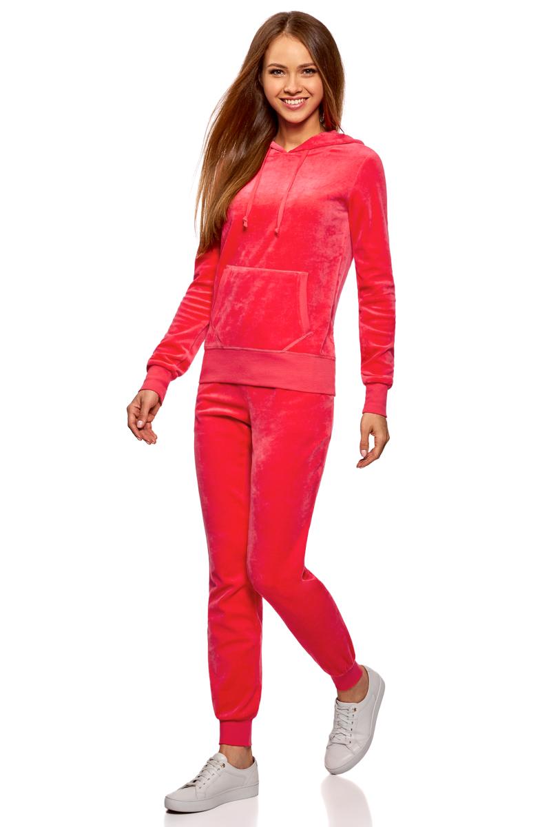 Брюки спортивные женские oodji Ultra, цвет: ярко-розовый. 16701052B/47883/4D00N. Размер L (48)16701052B/47883/4D00NЖенские спортивные брюки oodji изготовлены из качественной смесовой ткани. Модель выполнена с широким эластичным поясом и завязками на талии. Низы брючин дополнены широкими манжетами.
