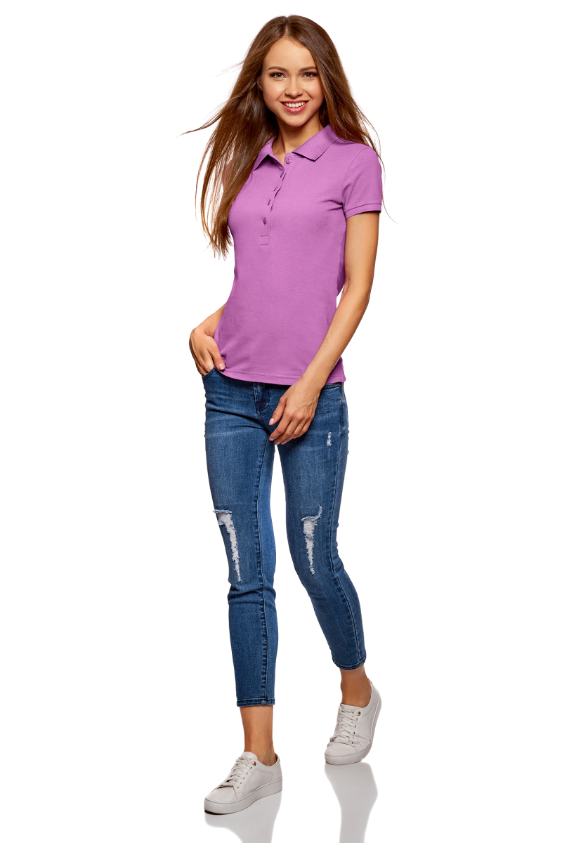 Поло женское oodji Ultra, цвет: ягодный, 2 шт. 19301001T2/46161/4C00N. Размер XS (42)19301001T2/46161/4C00NЖенское поло от oodji выполнено из ткани пике. Модель с короткими рукавами и отложным воротником на груди застегивается на пуговицы. В комплект входят две футболки-поло.