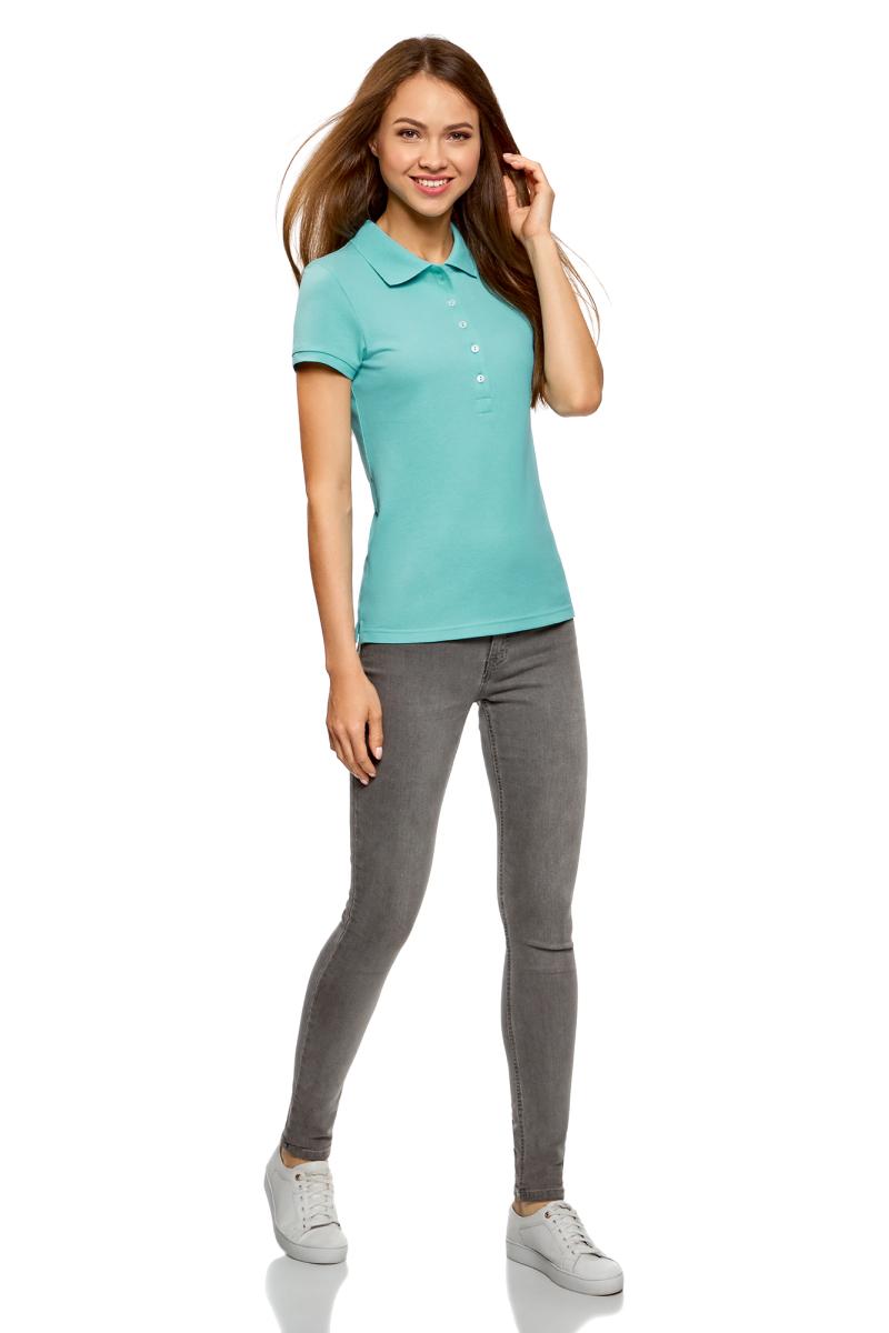 Поло женское oodji Ultra, цвет: бирюзовый, 2 шт. 19301001T2/46161/7301N. Размер L (48)19301001T2/46161/7301NЖенское поло от oodji выполнено из ткани пике. Модель с короткими рукавами и отложным воротником на груди застегивается на пуговицы. В комплект входят две футболки-поло.