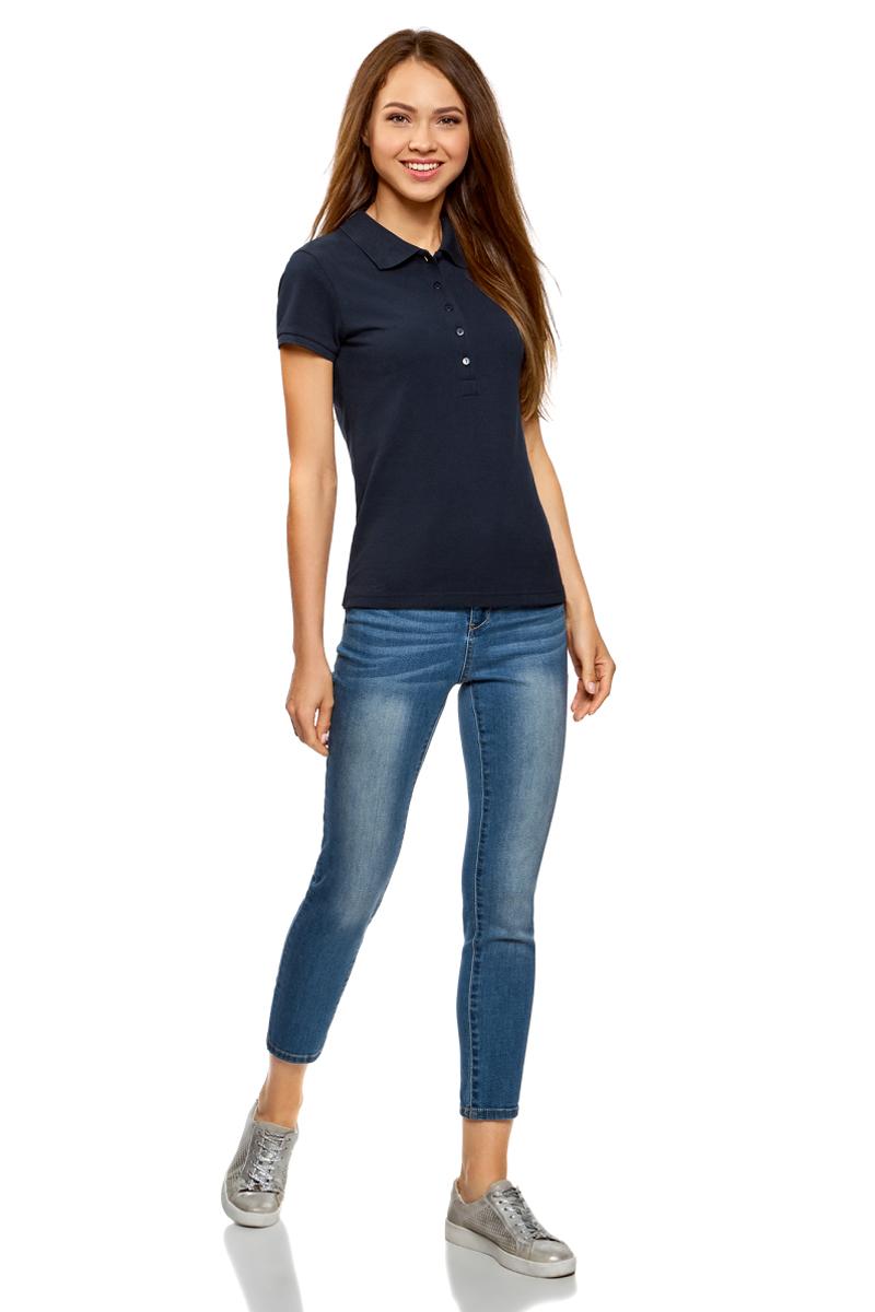 Поло женское oodji Ultra, цвет: темно-синий, 2 шт. 19301001T2/46161/7900N. Размер L (48)19301001T2/46161/7900NЖенское поло от oodji выполнено из ткани пике. Модель с короткими рукавами и отложным воротником на груди застегивается на пуговицы. В комплект входят две футболки-поло.