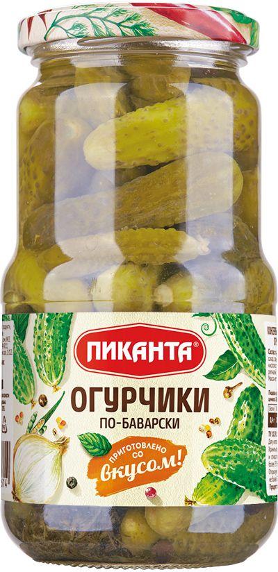Пиканта огурчики по-баварски 3-6 см, 520 г веселая грядка огурчики соленые бочковые 950 г