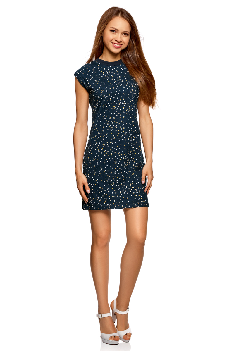 Платье женское oodji Collection, цвет: черный, горчичный, графика. 24008313/47617/2957G. Размер M (46)24008313/47617/2957G
