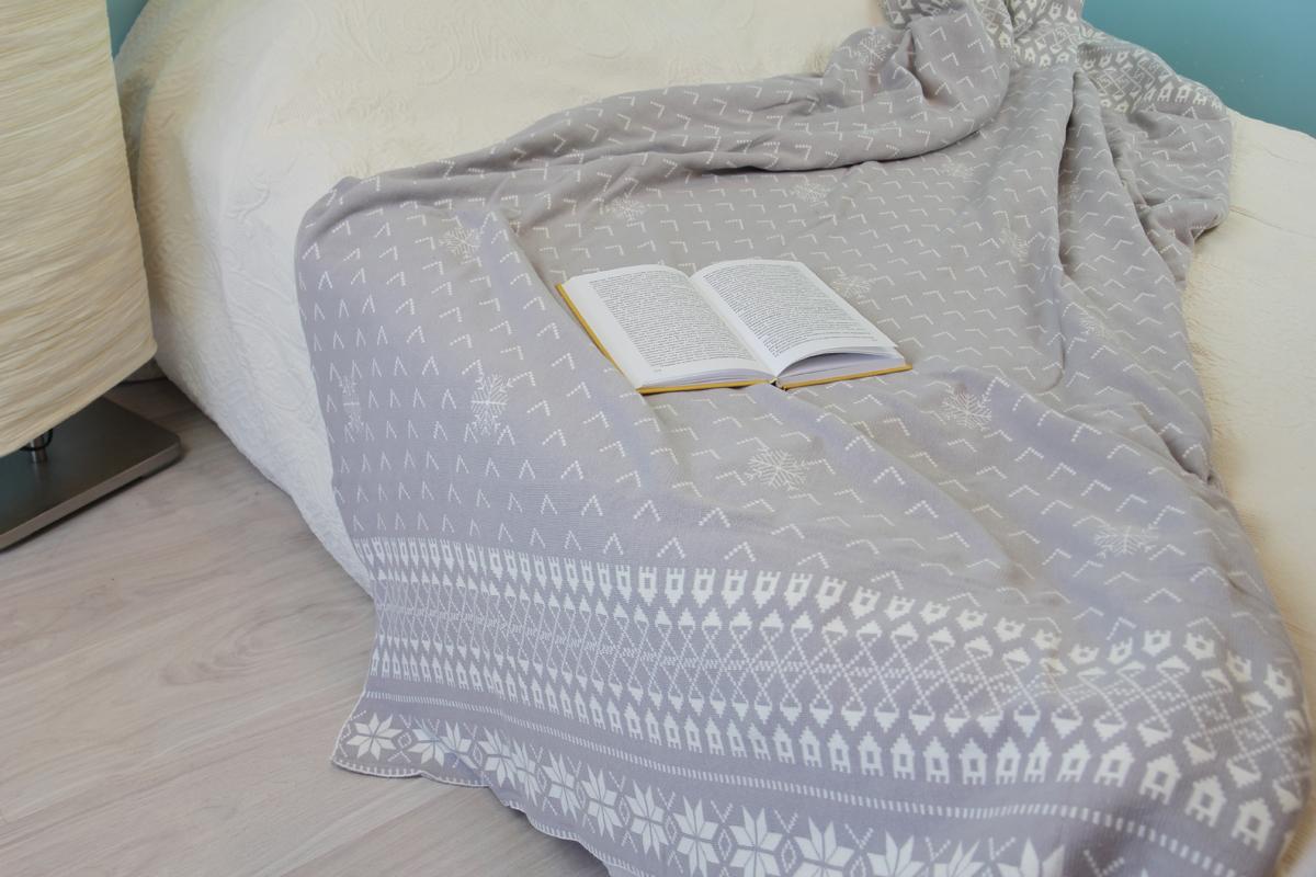 Плед Arloni Снежный, цвет: серый, 140 х 190 см плед arloni снежный барс 150 x 200 см о 12 4