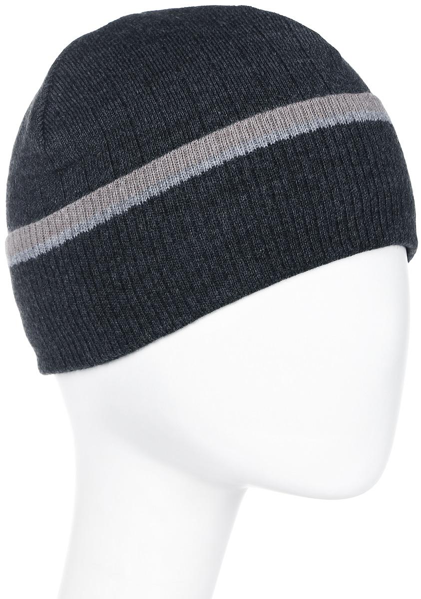 Шапка мужская Marhatter, цвет: темно-серый. Размер 61/63. MMH5830/2MMH5830/2Классическая шапка, подойдет для спортивных мероприятий и для повседневной жизни. Модель с отворотом и утеплена флисом.