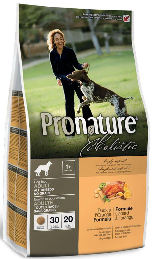 Корм сухой Pronature Holistic, для собак, беззерновой, утка с апельсином, 340 г корм сухой pronature holistic для собак беззерновой утка с апельсином 13 6 кг