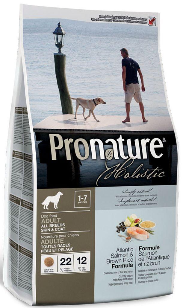 Корм сухой Pronature Holistic, для собак, для кожи и шерсти, лосось с рисом, 2,72 кг сухой корм pronature holistic adult cat skin