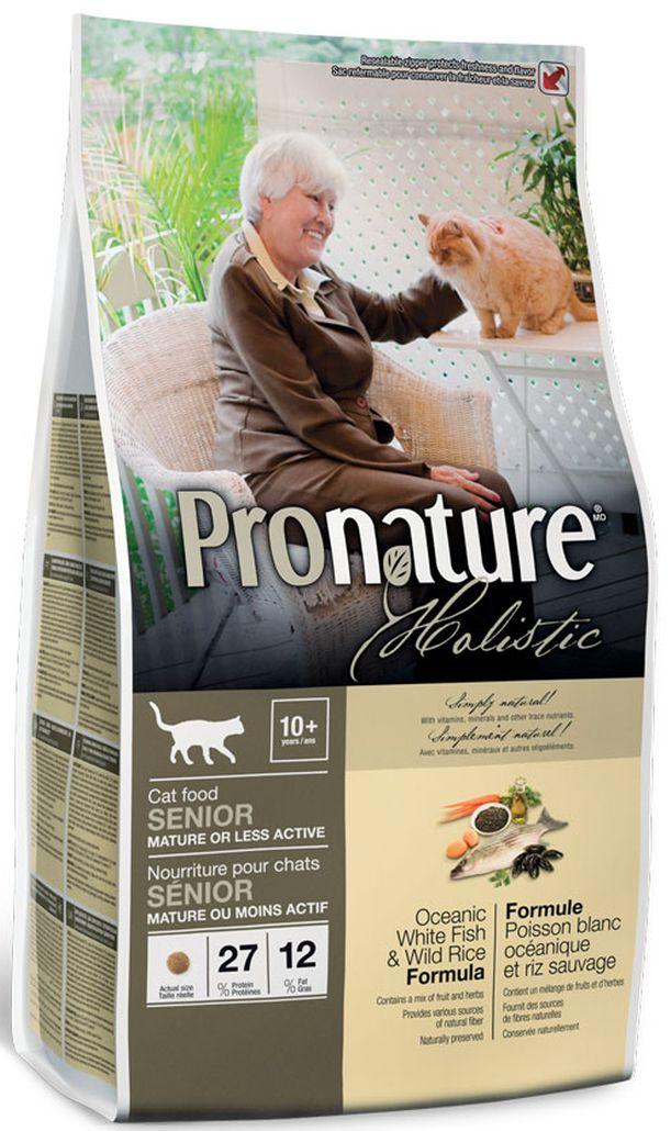 Корм сухой Pronature Holistic, для пожилых или малоактивных кошек, облегченный, океаническая белая рыбасрисом, 2,72 кг сухой корм pronature holistic adult cat skin