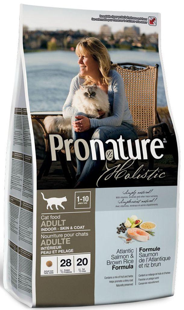 Корм сухой Pronature Holistic, для кошек, для кожи и шерсти, лосось с рисом, 2,72 кг102.2030