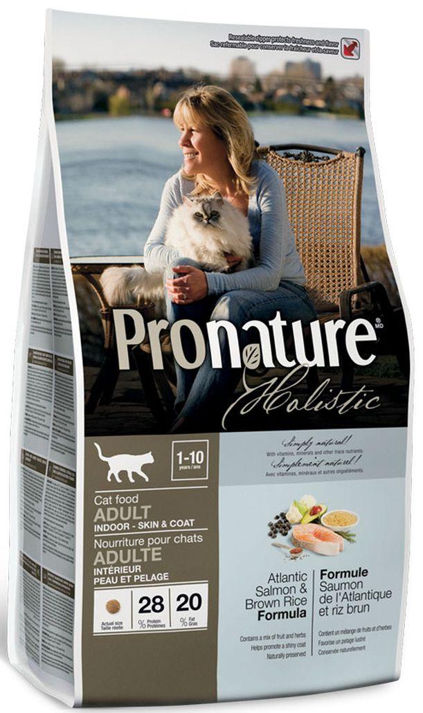 Корм сухой Pronature Holistic, для кошек, для кожи и шерсти, лосось с рисом, 5,44 кг сухой корм pronature holistic adult cat skin