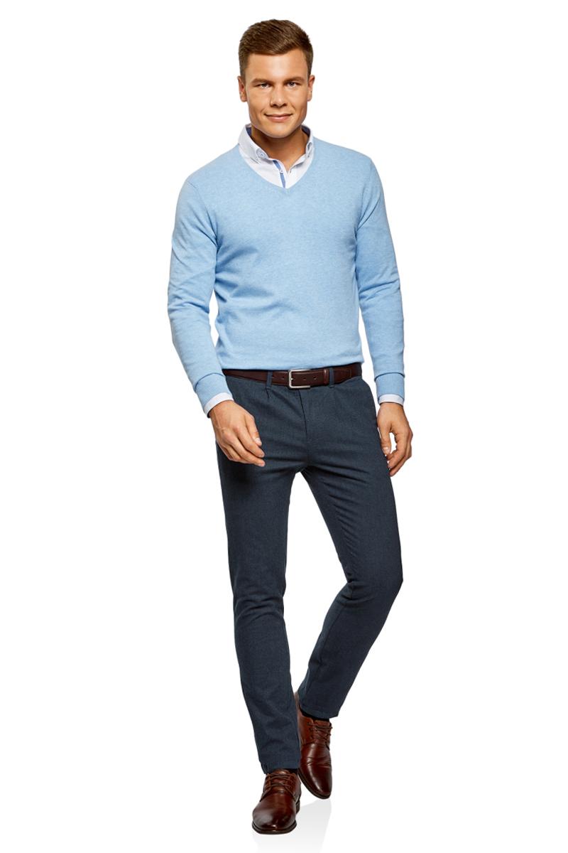 Купить Брюки мужские oodji Lab, цвет: синий, темно-синий. 2L150114M/47127N/7579O. Размер 38 (46-182)
