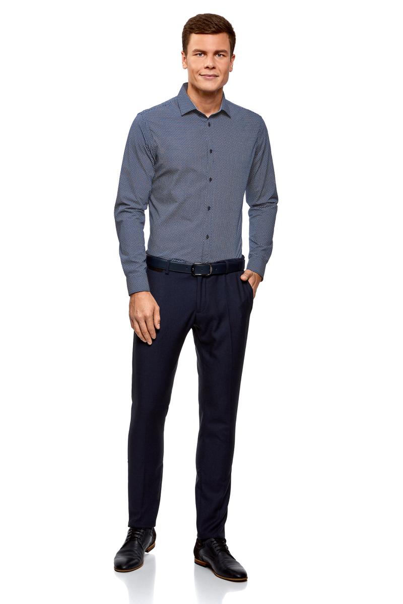 Рубашка мужская oodji Lab, цвет: темно-синий, белый. 3L110266M/19370N/7910G. Размер 42 (52-182)