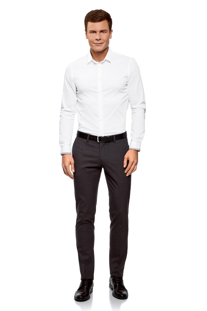 Рубашка мужская oodji Lab, цвет: белый. 3L140114M/34146N/1000N. Размер 42 (52-182)3L140114M/34146N/1000NМужская рубашка от oodji выполнена из хлопкового текстиля. Модель приталенного кроя с длинными рукавами и отложным воротником застегивается на пуговицы, оформлена контрастной отделкой.