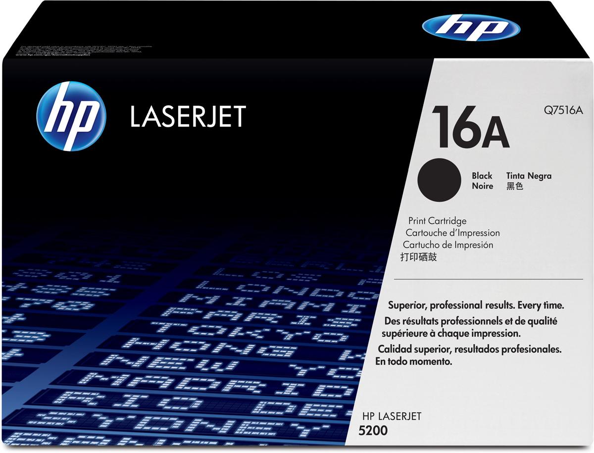 HP Q7516A, Black тонер-картридж для LaserJet5200Q7516A