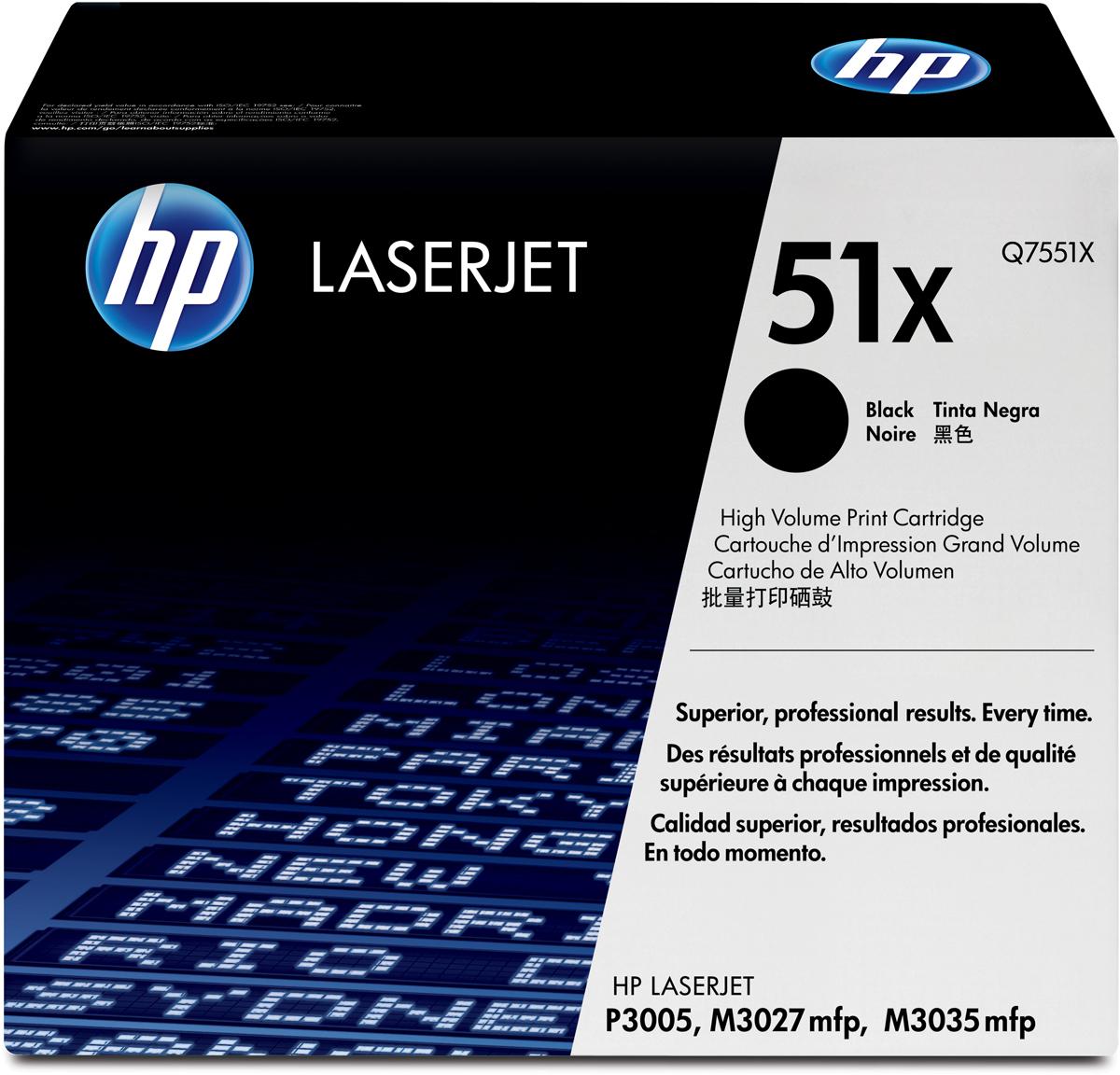 HP Q7551X, Black тонер-картридж для LaserJet P3005/M3035mfp/M3027mfpQ7551X