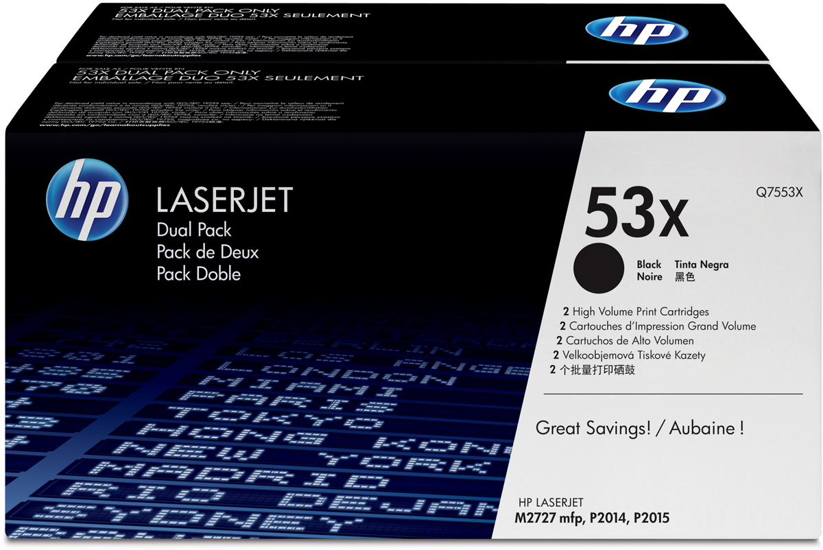 HP Q7553XD, Black тонер-картридж для LaserJet P2015Q7553XD