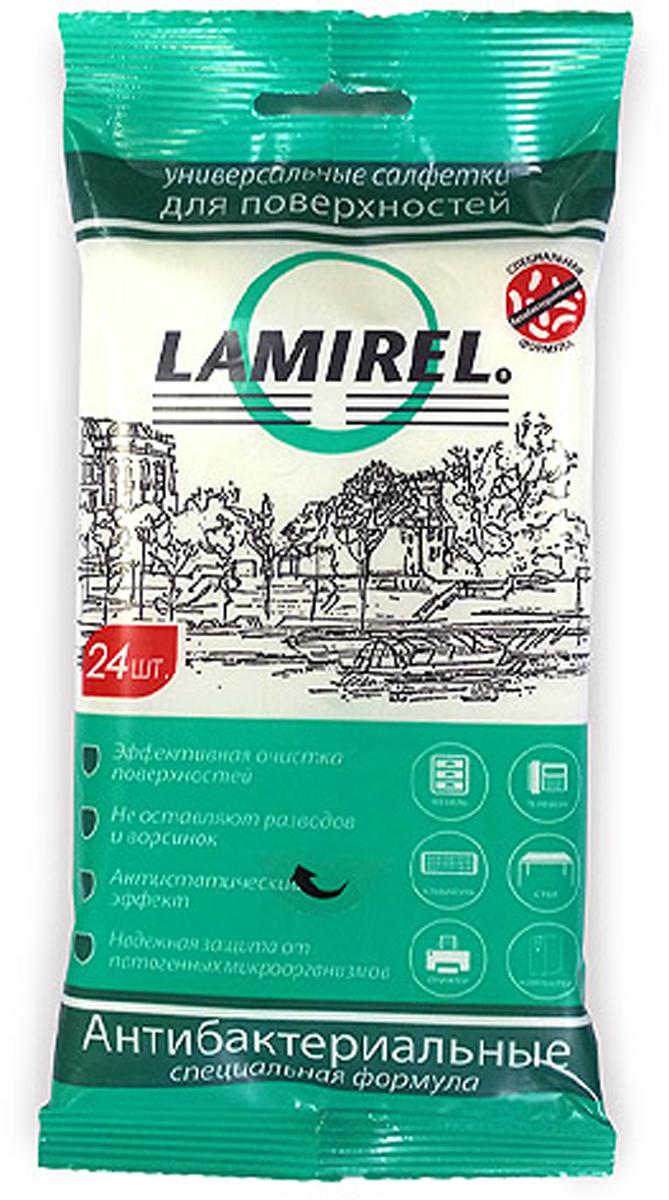 Lamirel LA-61617 антибактериальные универсальные чистящие салфетки для электроники (24 шт)LA-61617Отличительной особенностью линейки является специальная антибактериальная формула, обладающая широким спектром антимикробной и фунгицидной активности в отношении грамотрицательных и грамположительных бактерий (включая микобактерии туберкулёза, легионеллы, бактерии группы кишечной палочки, стафилококки, стрептококки, синегнойную палочку, сальмонеллы, листерии). Данное антибактериальное и фунгицидное действие является пролонгированным – на поверхности создается защитная пленка, подавляющая развитие микробов и бактерий на поверхности в течение 7 суток после очистки.Надежная защита от микробов и бактерийАнтистатический эффектЭффективное удаление загрязненийНе оставляют разводов и ворсинокСалфетка выполнена из плотного материала с 3D эффектом -150*175 мм.