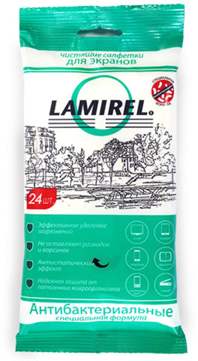 Lamirel LA-21617 антибактериальные чистящие салфетки для экранов всех типов (24 шт)LA-21617Отличительной особенностью линейки является специальная антибактериальная формула, обладающая широким спектром антимикробной и фунгицидной активности в отношении грамотрицательных и грамположительных бактерий (включая микобактерии туберкулёза, легионеллы, бактерии группы кишечной палочки, стафилококки, стрептококки, синегнойную палочку, сальмонеллы, листерии). Данное антибактериальное и фунгицидное действие является пролонгированным – на поверхности создается защитная пленка, подавляющая развитие микробов и бактерий на поверхности в течение 7 суток после очистки.Надежная защита от микробов и бактерийАнтистатический эффектЭффективное удаление загрязненийНе оставляют разводов и ворсинокСалфетка выполнена из плотного материала с 3D эффектом -150*175 мм.