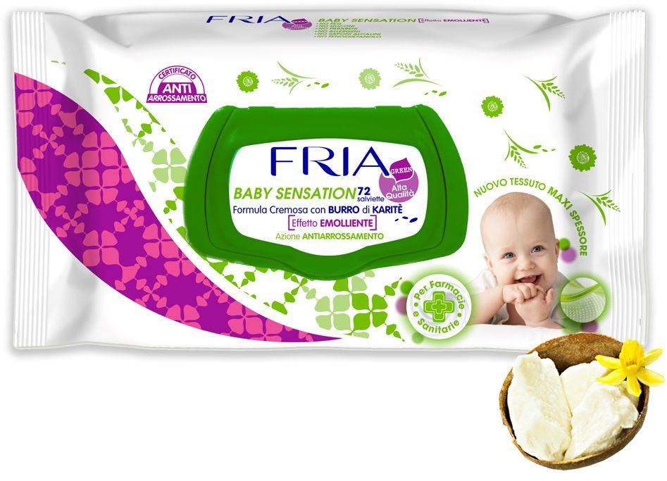 Fria Салфетки влажные детские Fria Baby Sensation с маслами, 72 шт090060Нежные салфетки FRIA BABY SENSATION нежно очистят и смягчат кожу вашего малыша, не влияя на естественный PH кожи ребенка. У салфеток кремовая текстура, они не содержат спирт и убирают покраснения, имеют успокаивающий эффект и создают защитный слой на коже малыша. В составе масло ши, обладающее уникальными регенерирующими свойствами, оно исцеляет и успокаивает кожу. Салфетки богаты витаминами А, В, Е и F.