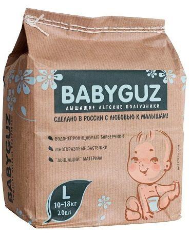 BabyGuz Подгузники детские одноразовые BabyGuz L 10-18 кг 20 шт -  Подгузники и пеленки