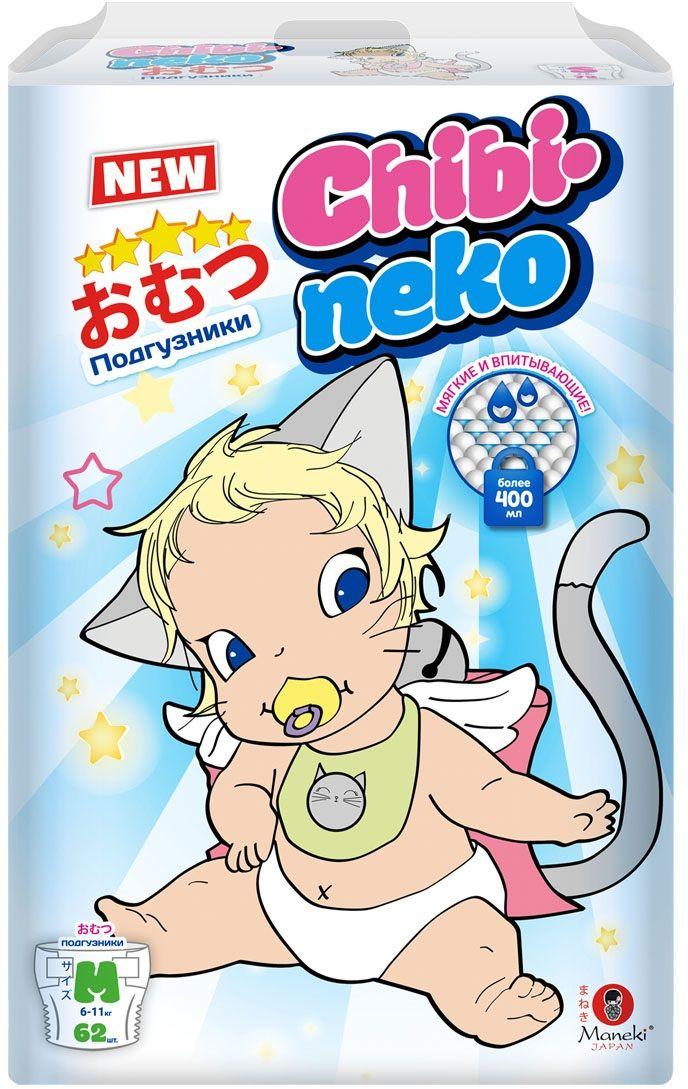 Maneki Подгузники детские одноразовые Chibi-Neko размер M 6-11 кг 62 шт -  Подгузники и пеленки