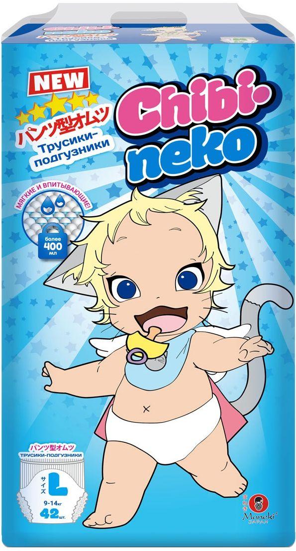 Maneki Подгузники-трусики детские одноразовые Chibi-Neko размер L 9-14 кг 42 шт -  Подгузники и пеленки