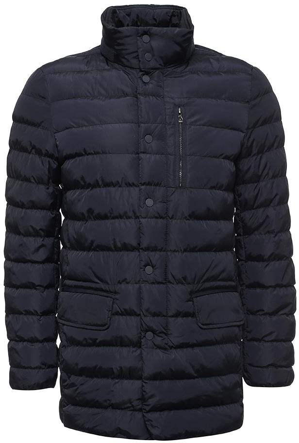 Куртка мужская Geox, цвет: темно-синий. M7428AT2422F4300. Размер 58M7428AT2422F4300Мужская куртка с подкладкой Geox выполнена из качественного материала. Модель с длинными рукавами застегивается на кнопки. Изделие дополнено накладными двумя накладными карманами и одним врезным на застежке-молнии.