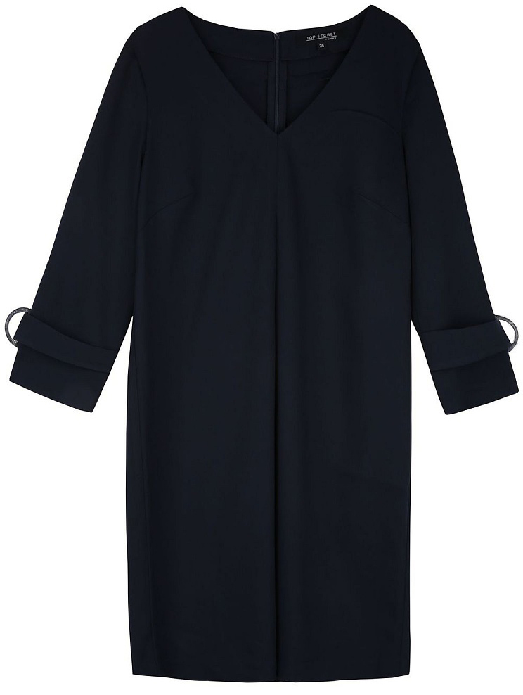 Платье женское Top Secret, цвет: темно-синий. SSU1977GR. Размер 38 (48)SSU1977GRМодное платье Top Secret выполнено из плотного комбинированного материала. Модель свободного кроя с V-образным вырезом горловины и длинными рукавами. На спинке изделие застегивается на застежку-молнию. Рукава декорированы хлястиками со стильной фурнитурой.