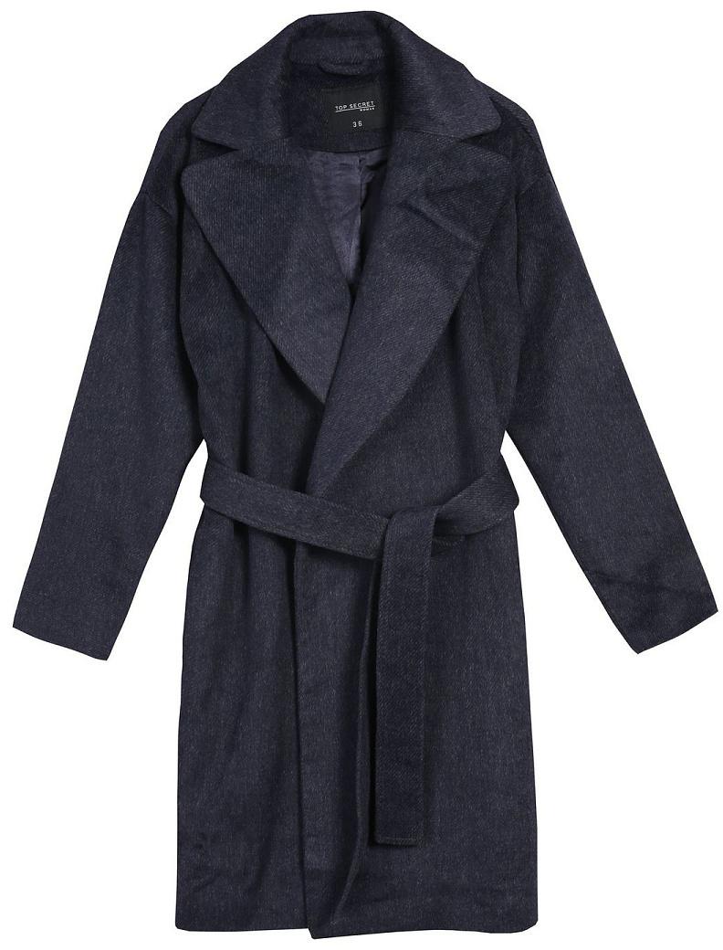 Пальто женское Top Secret, цвет: синий. SPZ0404GR. Размер 40 (50)SPZ0404GRСтильное женское пальто Top Secret выполнено из комбинированного материала высокого качества. Пальто с длинными рукавами и воротником с лацканами. Модель дополнена поясом.