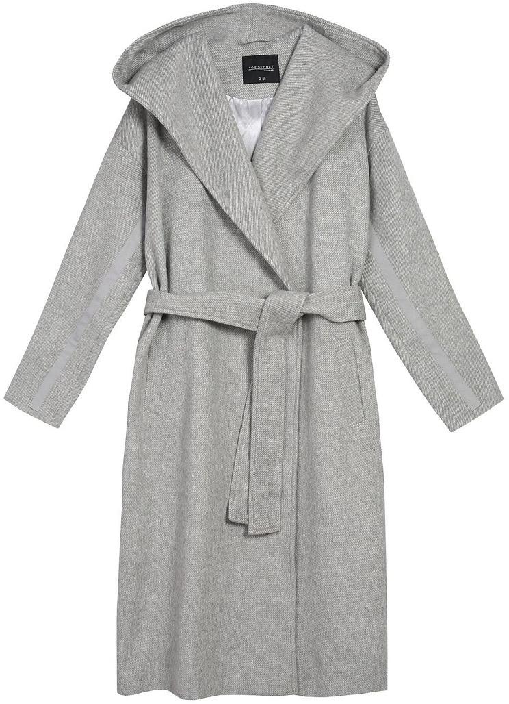 Пальто женское Top Secret, цвет: серый. SPZ0403GB. Размер 40 (50)SPZ0403GBСтильное женское пальто Top Secret выполнено из комбинированного материала высокого качества. Пальто с длинными рукавами и воротником с лацканами. Модель дополнена поясом.