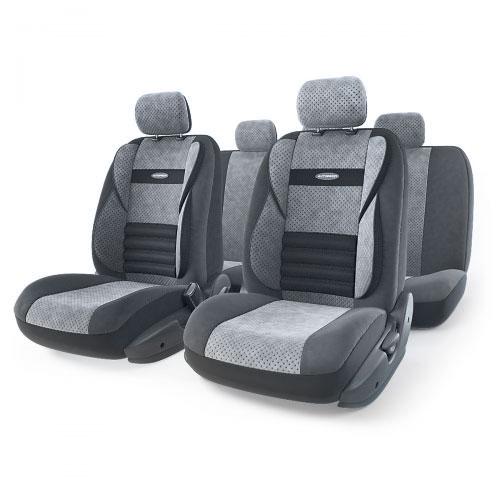 Набор ортопедических авточехлов Autoprofi Comfort Combo, велюр, цвет: темно-серый, светло-серый, 11 предметов. Размер M. CMB-1105 D.GY/L.GY (M)CMB-1105 D.GY/L.GY (M)Ортопедические авточехлы Comfort Combo оснащены усиленной поддержкой плечевого пояса, которая способствует естественному положению спины при вождении. Объемные боковые вставки чехлов на уровне поясницы поддерживают туловище в поворотах, а рифленый поясничный профиль обеспечивает естественную осанку и снижает нагрузку с межпозвоночных дисков.Чехлы Comfort Combo выполнены из формованного велюра, который сочетает привлекательный внешний вид и хорошие дышащие свойства, позволяющие водителю и пассажирам чувствовать себя комфортно во время движения.Основные особенности авточехлов Comfort Combo:- боковая поддержка спины; - 3 молнии в спинке заднего ряда; - 3 молнии в сиденье заднего ряда; - карманы в спинках передних сидений; - крепление передних спинок липучками; - ортопедический поясничный упор; - поддержка плечевого пояса; - предустановленные крючки на широких резинках;- использование с боковыми airbag;- толщина поролона: 5 мм.Комплектация: - 1 сиденье заднего ряда; - 1 спинка заднего ряда; - 2 сиденья переднего ряда; - 2 спинки переднего ряда; - 5 подголовников; - набор фиксирующих крючков.