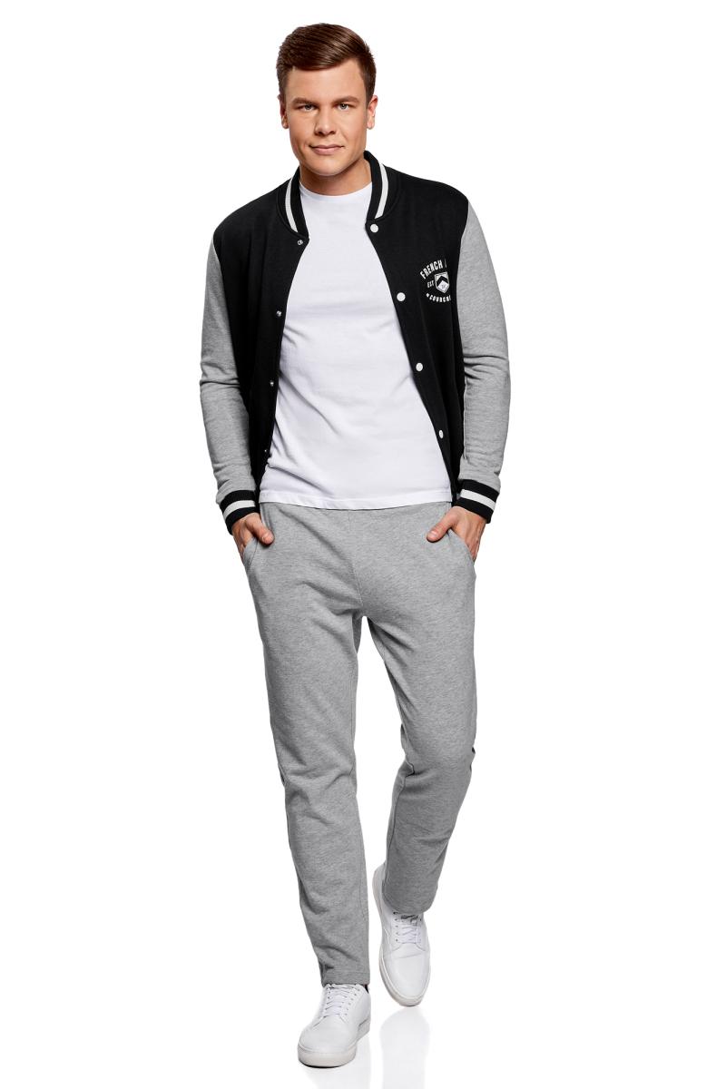 Брюки мужские oodji Basic, цвет: серый меланж. 5B230001M/47829N/2300M. Размер XS (44)5B230001M/47829N/2300M